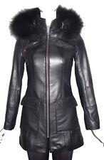 Plus 3X Women Fitted Best Clean Cool Black Sheepskin Lamb New Leather Parka 4177