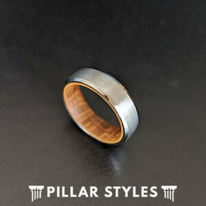 6mm Mens Ring Silver Whiskey Barrel Ring Tungsten Wedding Band Bourbon Wood Ring