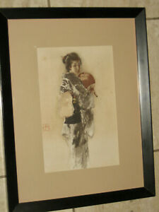 "+++Antique ROBERT BLUM ""The Musmee' Japanese Geisha Girl Print, Cincinnati, Ohio"