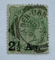1891 ADEN SON CANCEL ON INDIA STAMP 2 1/2 As. OVERPRINT #47