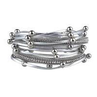 1 PC Women Multilayer Leather Magnet Wrap Cuff Charm Bracelet Jewelry Gift