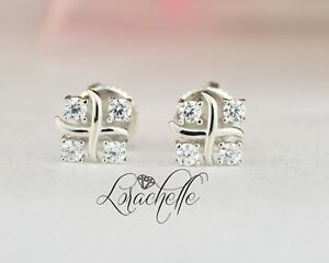 0.3 ct 4-Stone Brilliant Cut Round Stud Earrings Solid 14K White Gold