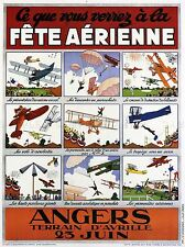 Esposizione AIR SHOW aereo aeroplano Francia BIPLANO VINTAGE PUBBLICITARIO POSTER 1651pylv