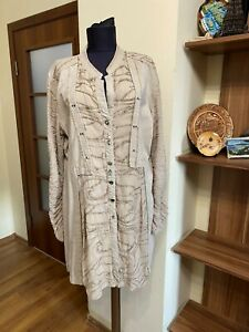 ELISA CAVALETTI CLUB BEIGE STRETCH COTTON THICK JERSEY EMBROIDERED BUTTON TUNIC-