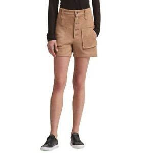 DKNY NEW Women's Brown Faux-suede Gold Buttons Bermuda Shorts 12 TEDO