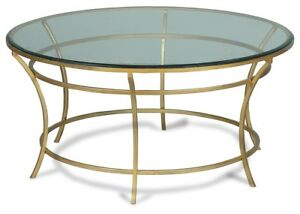"36"" Marco Coffee Table Round Iron Base Antique Gold Finish Thick Glass Top"