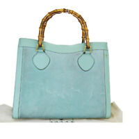 Auth Gucci Bamboo Suede,Leather Handbag Emerald Green 08GB447