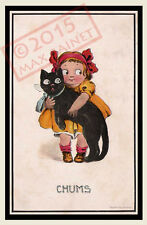 "Vintage CHUMS Kitch Girl with her Black Cat friends > Fine ART PRINT 8x12"" Kitty"