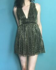 Topshop Gold Grecian Pleated Plunge Mini Party Dress Size 8 - B45