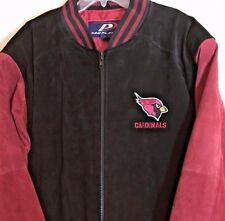 NFL Football Arizona Cardinals Leather Varsity Bomber Jacket Men's L Black Red
