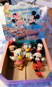 "6 Applause VINTAGE 1986 5"" Mini Plush Mickey Minnie Donald Daisy & Display Box"