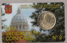 VATICANO MONETA 50 CENTESIMI UNC  BU  COINCARD ANNO 2011 N° 2 PREZZO COINCARD