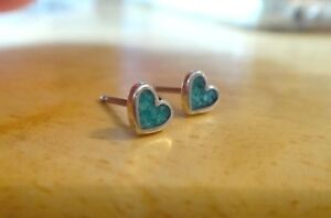 Sterling Silver 4x5mm TINY Turquoise Blue Chip Inlaid Heart Stud Earrings