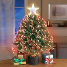 "Mini Lighted Christmas Tree 19"" Tabletop Fiber Xmas Decoration Prelit Ornaments"