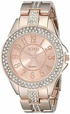 NEW XOXO XO5466 Womens Rhinestone Accented Bezel & Band Rose Gold Bracelet Watch