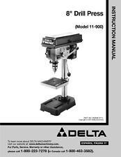 "Delta 11-900 8"" Drill Press Instruction Manual FREE SHIPPING"