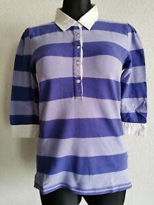 Gant womens cotton blend 3/4 sleeve striped polo shirt size L