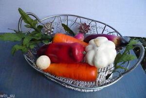 Metal Wire egg BASKET~Grape details~FAUX ARTIFICIAL Veggies VEGETABLES~HomeDecor