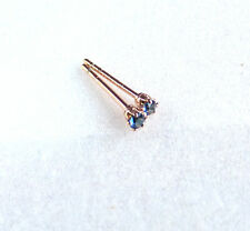 Tiny Small 2mm Dark Blue Simulated Diamond Classic Stud Earrings Rose Gold Plate