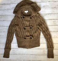 ANN TAYLOR LOFT Women's M Wool/Alpaca Blend Cardigan Sweater Brown Chunky Button