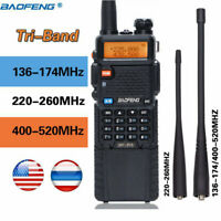 BaoFeng BF-R3 Tri-Band 3800mAh 2x Antenna Long Range Two Way Radio Walkie Talkie