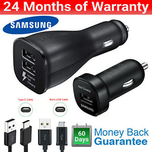 Samsung Dual USB Adaptive Fast Car Charger Cable Fast Charger for S6 7 8 9 10