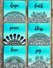 Mandala Drink Coasters Non Slip Neoprene Love Hope Faith Peace Joy Bliss