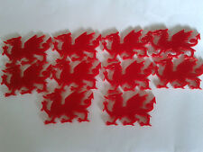 10 Laser Cut 3mm Red Acrylic Welsh Dragon Shapes 60 X 35mm Wales Crafts