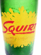 "vintage ACL Soda POP Bottle:  green SQUIRT w/ ""BE HEALTHY, BE HAPPY"" - 7 oz ACL"