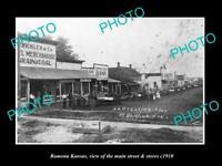 OLD LARGE HISTORIC PHOTO OF RAMONA KANSAS, THE MAIN STREET & STORES c1910