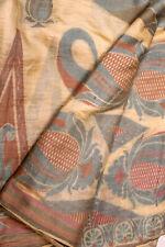Vintage Indian Pure Tussar Silk Saree Hand Woven Sari Woman Wedding Dress Wrap