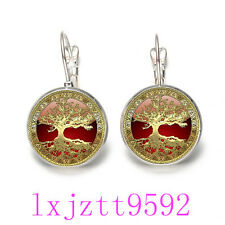 Gold Tree of Life Glass cabochon(18MM)Lever Back Earrings Silver women Jewelry