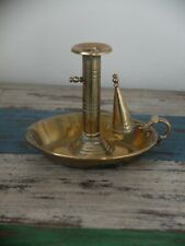 More details for victorian brass chamberstick with snuffer circa 1880