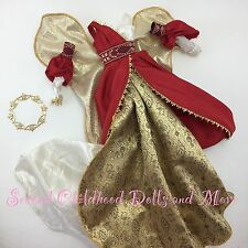 NEW TNT BARBIE CLOTHES Collector Angel Gown Red Gold Dress Costume Wings Halo