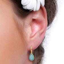 Aqua Chalcedony 925 Silver Gemstone Drop Dangle Hook Earring Jewelry