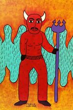 Devil El Diablo Naive Retablo Painting by the Lorenzo Family Mexican Folk Art