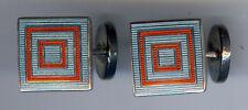 TALBOTT de Ley Diseño Deco rojo y Azul Esmalte Concéntrico Cuadrados Gemelos