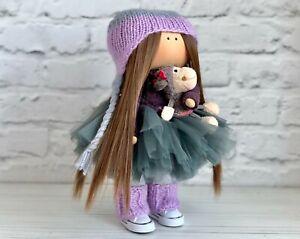Interior doll for girls, Tilda cloth doll, Purple doll handmade