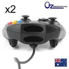 2 X Dual Shock Black Wired Game Pad Controller For Microsoft Original Xbox MELB