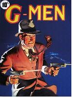 ORIGINAL 20X24 G-MEN Pulp pinup Detective FBI Gangster Illustration Deco G MAN