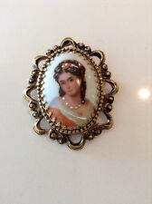 "Limoges France Lady Handpainted Portrait Pin Brooch, 2.25"" long"