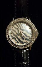 ZEBRA M-O-PEARL Watch, Genuine WHITE TOPAZ Bezel, Black Embossed Patent Leather