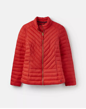 Joules Elodie Quilted Warm Red Women Winter Coat Jacket Size UK 12 New