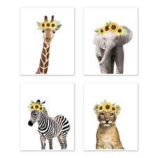 Sweet Jojo Boho Sunflower Safari Jungle Animal Baby Girl Nursery Wall Art Prints