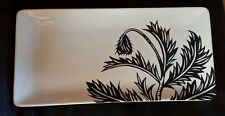 """West Elm Patch NYC Rectangular Black & White Floral Serving Dish/Plate 14.25""""x7"""""""