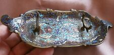 Porte plume fin XIXème en bronze cloisonné émaillé polychrome