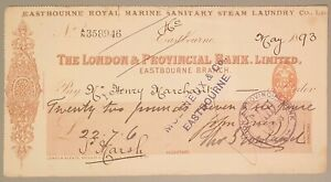 Eastbourne Royal Marine Sanitary Steam Laundry Co Ltd Cheque - Eastbourne 1893