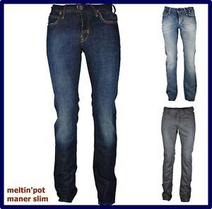 Jeans Meltin pot uomo slim fit pantaloni svasati marvin a vita bassa w29 w30 w40