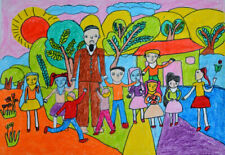 A drawing of children playing with their grandfather in the yard