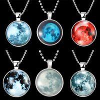Magic Glow In The Dark Galaxy Moon Stone Pendant Necklace Charm Chain Jewelry